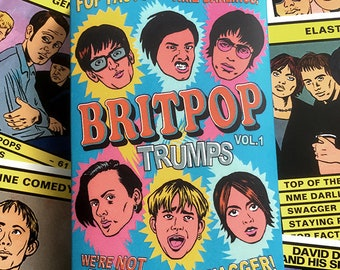 BRITPOP TRUMPS Card Game Vol.1 (30 britpop bands inc. Blur, Oasis, Suede, Pulp, Elastica, Auteurs, Sleeper and many more)