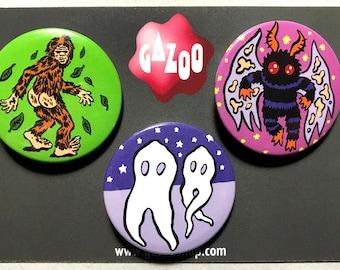 """CRYPTIDS - Set of 3 Pin Badges (1.5""""/38mm) Mothman! Bigfoot! Fresno Nightcrawlers!"""