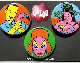 """JOHN WATERS - Set of 3 Pin Badges (1.5""""/38mm) Divine, Pink Flamingos"""