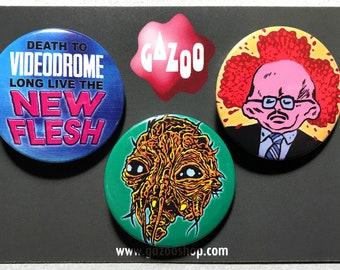 "DAVID CRONENBERG - Set of 3 Pin Badges (1.5""/38mm) Videodrome / The Fly / Scanners"