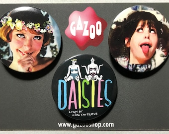 "DAISIES / SEDMIKRÁSKY - Set of 3 Pin Badges (1.5""/38mm) - Czech Cinema, Věra Chytilová"