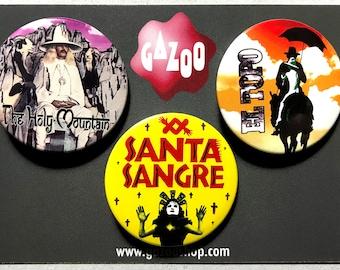 "ALEJANDRO JODOROWSKY - Set of 3 Pin Badges (1.5""/38mm) The Holy Mountain / El Topo / Santa Sangre"