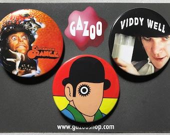 "CLOCKWORK ORANGE - Set of 3 Pin Badges (1.5""/38mm) Stanley Kubrick"