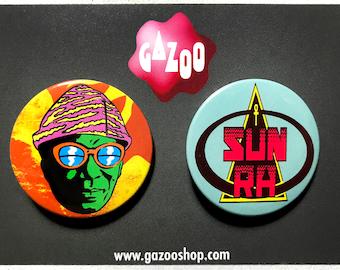 """SUN RA - Set of 2 Pin Badges (1.5""""/38mm)"""