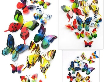 12pcs 3D PVC Double Butterfly Wall Sticker Home Decoration Home Decor Butterfly Fridge Magnet