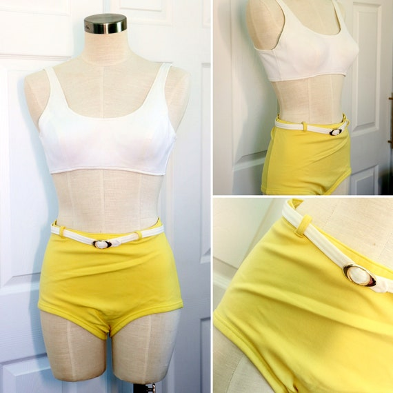 Original 1960s Two Piece Yellow Bathing Suit by Ca