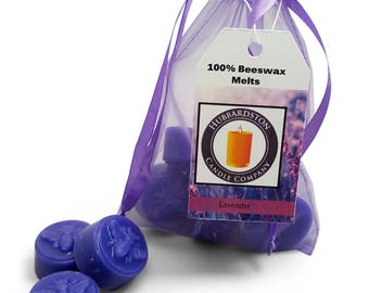 Lavender Scented Beeswax Melts, Long Lasting Scented Round Purple Melt, Beeswax Tart, Flameless Candle