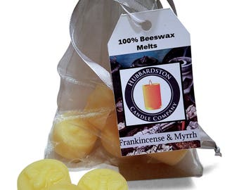 Frankincense & Myrrh Scented Beeswax Melts, Long Lasting Scented Round Yellow Melt, Beeswax Tart, Flameless Candle