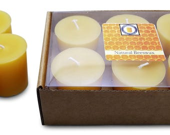 15 Hour Beeswax Votive Candle, Smokeless Candle, All Natural Honey Scented 100% Beeswax Votives, Votive Candles, by Hubbardston Candle Co