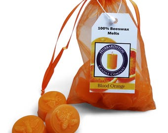 Blood Orange Scented Beeswax Melts, Long Lasting Round Orange Citrus Melt, Beeswax Tart, Flameless Candle