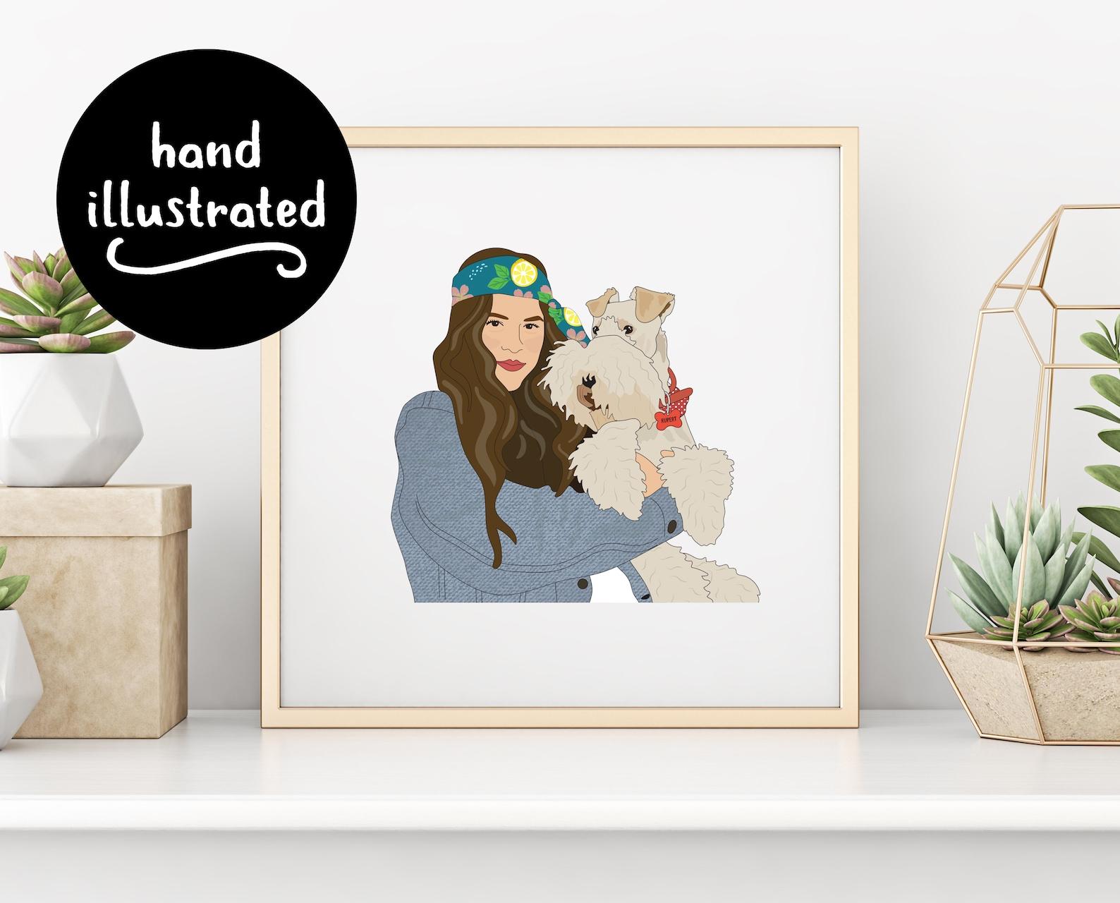 Dog and owner illustration