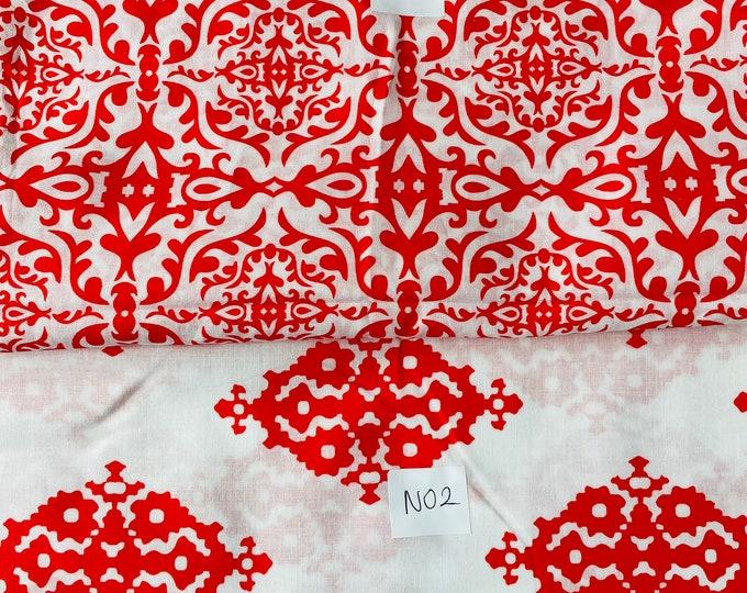 DIGITAL PRINTED Red Design Cotton Viscose Fabric Curtain Upholstery Cushion 150 cm wide  Baumwollstoff - Viskosestoff Viscose Fabric