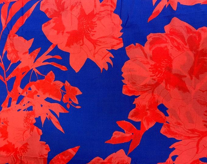 Red Floral DIGITAL PRINTED Cotton Viscose Fabric Curtain Upholstery Cushion 150 cm wide  Baumwollstoff - Viskosestoff Viscose Fabric