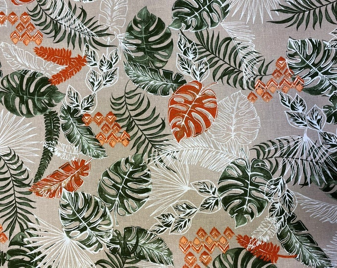 Leaf Spring 100% Linen/Cotton DIGITAL PRINTED Cotton Linen Fabric Curtain Upholstery Cushion 150 cm wide  Baumwollstoff