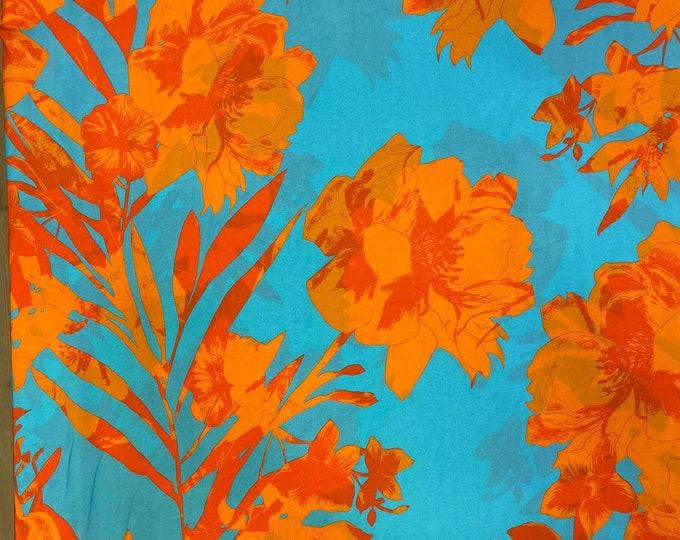 Orange Floral 100% Linen/Cotton Viscose DIGITAL PRINTED Cotton Linen Fabric Curtain Upholstery Cushion 150 cm wide  Baumwollstoff