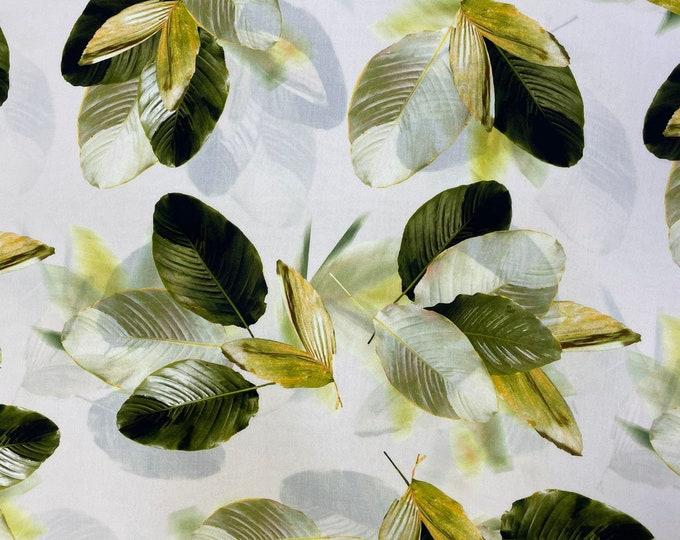 Green Leaf DIGITAL PRINTED Cotton Viscose Fabric Curtain Upholstery Cushion 150 cm wide  Baumwollstoff - Viskosestoff Viscose Fabric