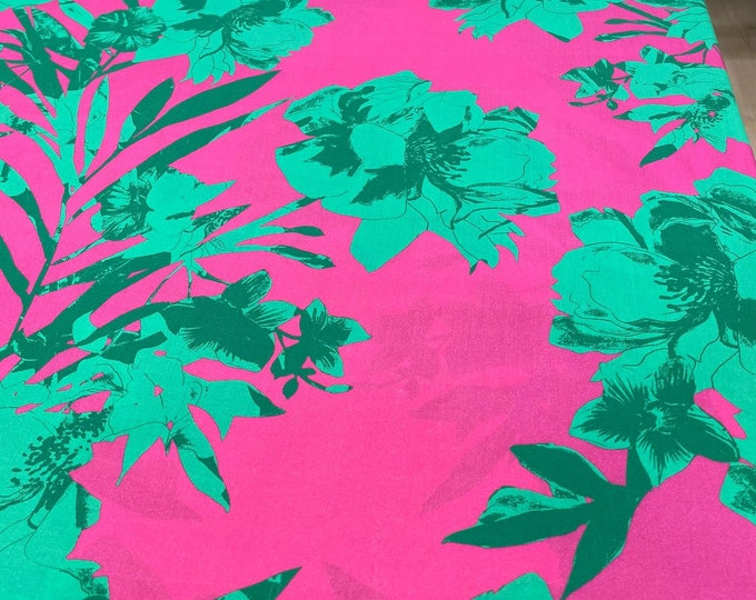 Green Floral DIGITAL PRINTED Cotton Viscose Fabric Curtain Upholstery Cushion 150 cm wide  Baumwollstoff - Viskosestoff Viscose Fabric