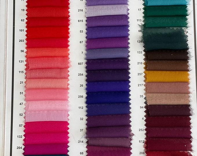 60 Colours High Premium Quality Sheer Chiffon Fabric - 100% POLYESTER -