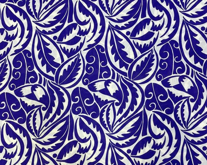 Blue DIGITAL PRINTED Cotton Viscose Fabric Curtain Upholstery Cushion 150 cm wide  Baumwollstoff - Viskosestoff Viscose Fabric