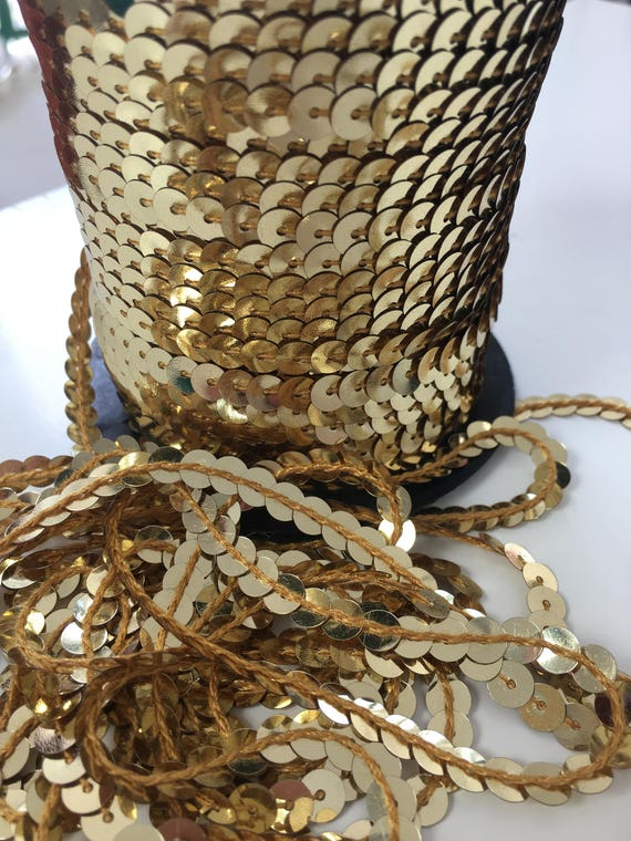 10 metre length x 6mm Strung Metallic Flat Sequins Gold
