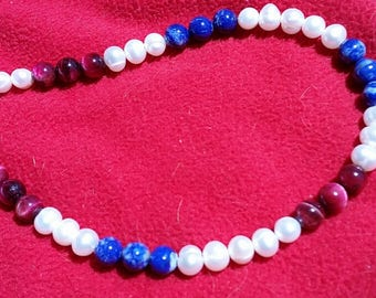 Red, white and blue patriotic America 4th of July sterling silver findings