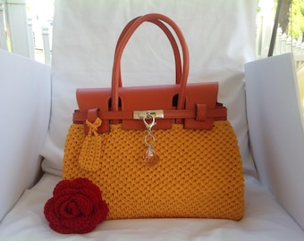 610af31a3dea Birkin Inspired Crochet Handbag Tote Made in U.S.A. with Imported Italian  Leather