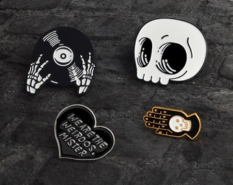 e4d1de80d1d Punk Gothic Style Skeleton Head Record Buckle DJ Hand LapelPin Badge  Corsage Shirt Collar Metal Brooch Enamel Jewelry Gift Cloth Accessories