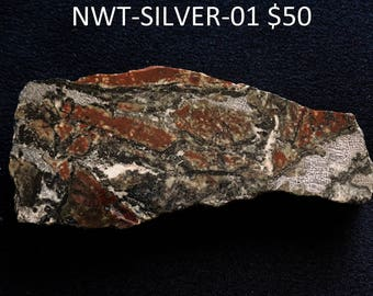 Natural Silver in rock from Northwest Territories, Canada