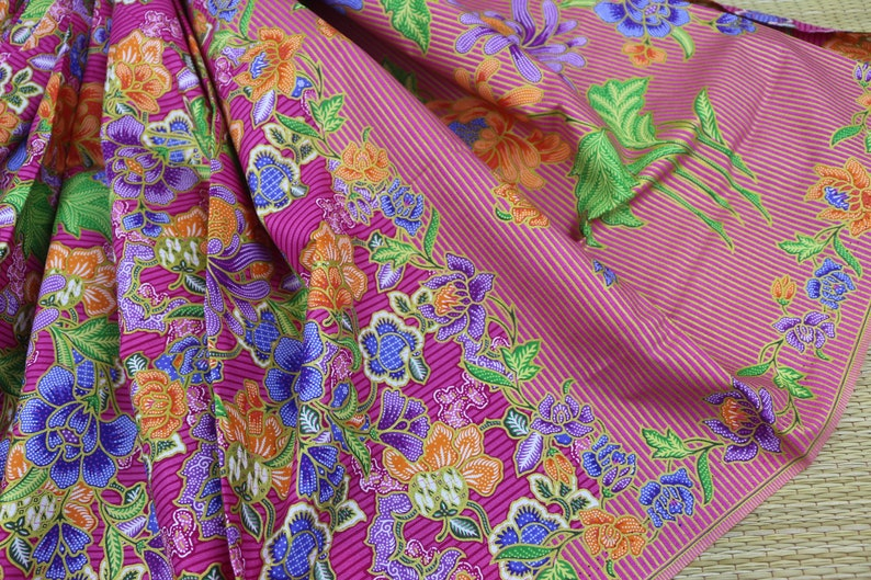 62ac16c89 Pink with Colorful Floral Sarong Printed Fabric in Batik | Etsy