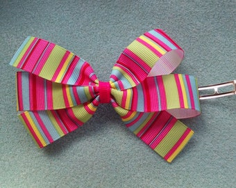 Pink Multicolor Striped Hair Bow