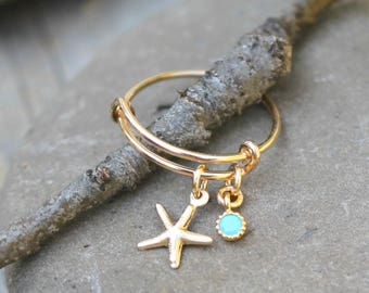 Adjustable RING, turquoise charm & tiny 14k gold filled starfish, stackable finger ring, stacking ring, beach, nautical, OnThisEarth