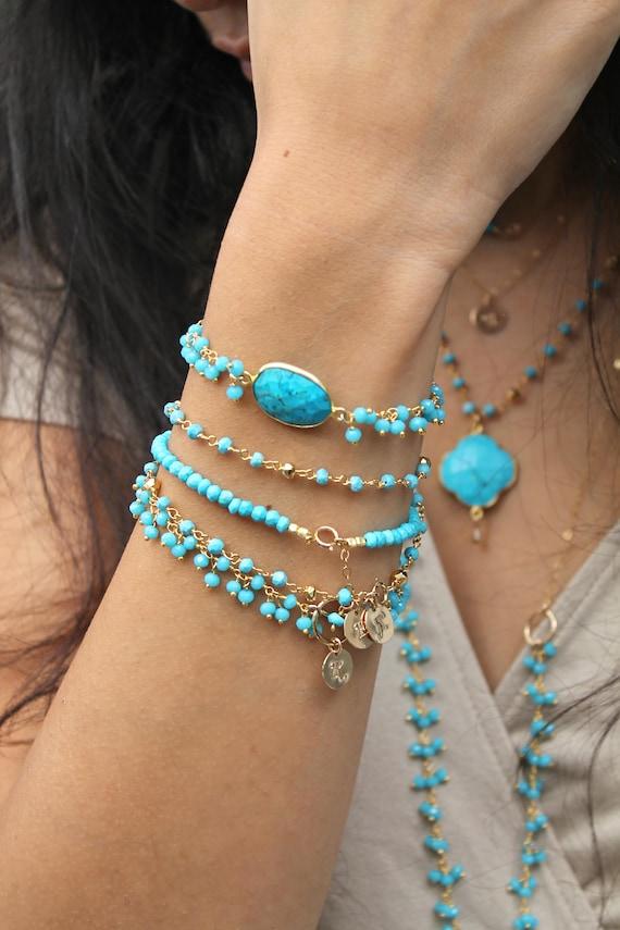 Turquoise Elephant Chain Two Layer Colorful Ceramic Charm Bracelet Bohemian bracelet Handmade bracelet Female Owl Drap Chain ,Gypsy