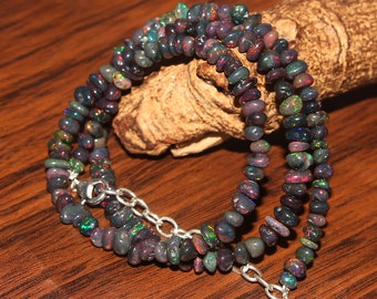 55Crt 1Strand Natural Ethiopian Welo Green Fire Black Opal Uncut Beads Gemstone Necklace #A76 fire black opal necklace