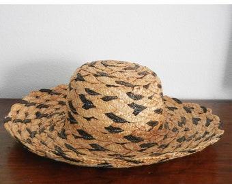 b8c6eebdd1236 Vintage Straw Sun Hat Black Natural Woven Broad Brim Hat