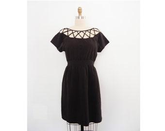 Venus Dress Women/'s Vintage Flattering Fit Floral Print Cross Lattice Neckline Stretch Jersey Resort Wear