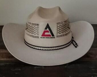 2947ca29c4061 ALLIS-CHALMERS vintage 1960 s Best of Show straw cowboy hat