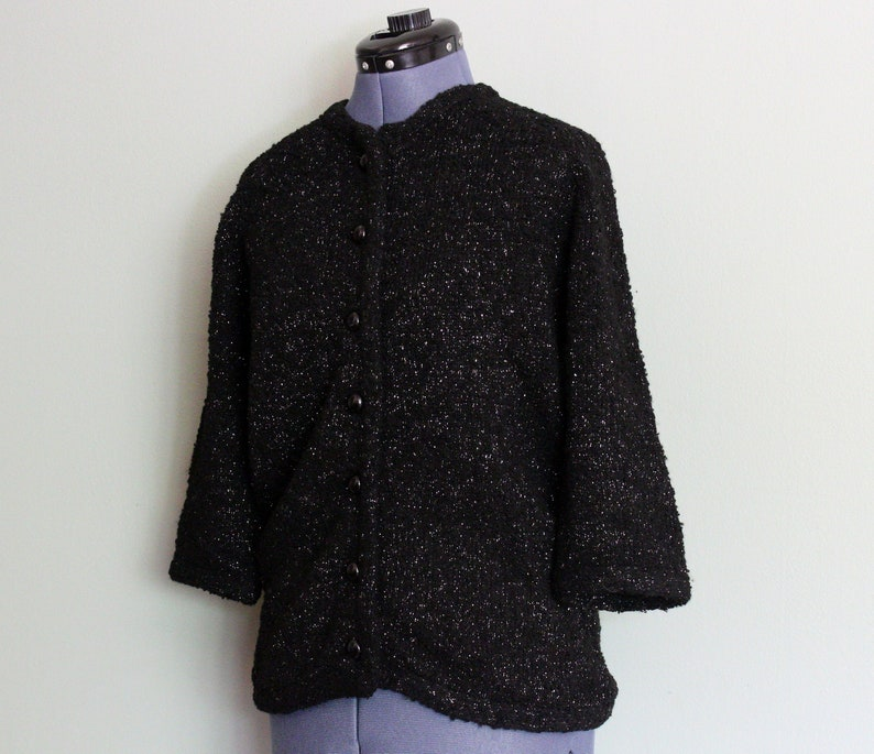 Vintage 1950/'s Black with Silver Thread Three Quarter Sleeve Wool /& Lurex Women/'s Jacket by ANTHONY/'S British Crown Colony Hong Kong MEDIUM