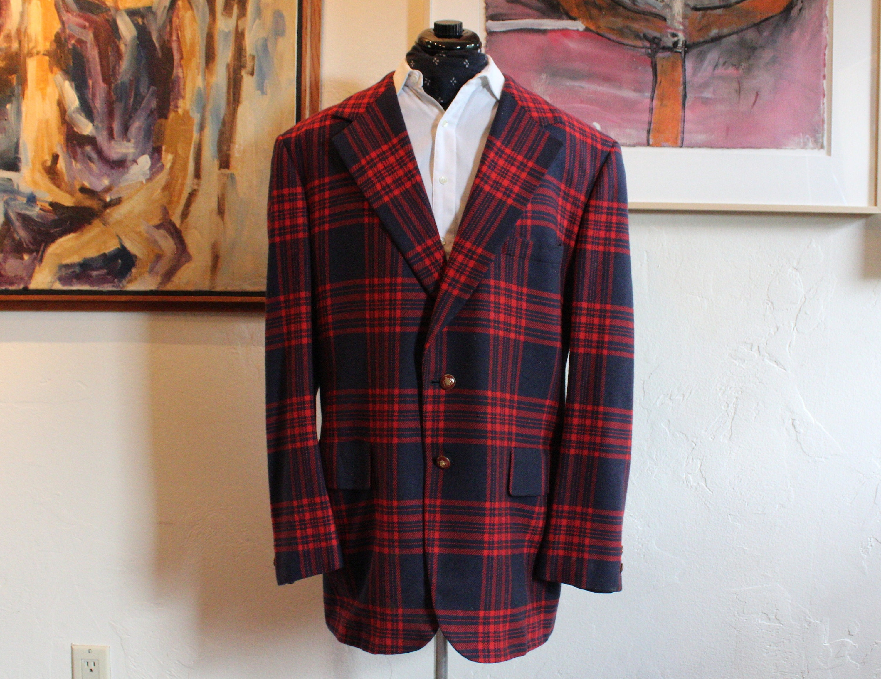 1960s – 70s Men's Ties | Skinny Ties, Slim Ties Vintage Late-1960s Early 1970s Lebow Clothes Blue  Red Plaid Swanky Mens Sport Coat Cashmere Coat, Size 44 Long $0.00 AT vintagedancer.com