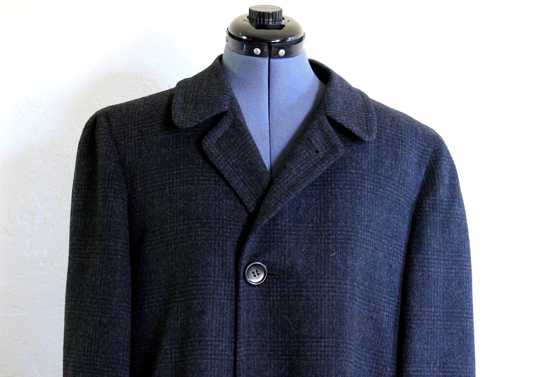 1950s Mens Hats | 50s Vintage Men's Hats Vintage 1950s-60s Wool Herringbone Fairhaven Tailored By Curlee Mens Overcoat With Raglan Sleeves, Size Medium $0.00 AT vintagedancer.com
