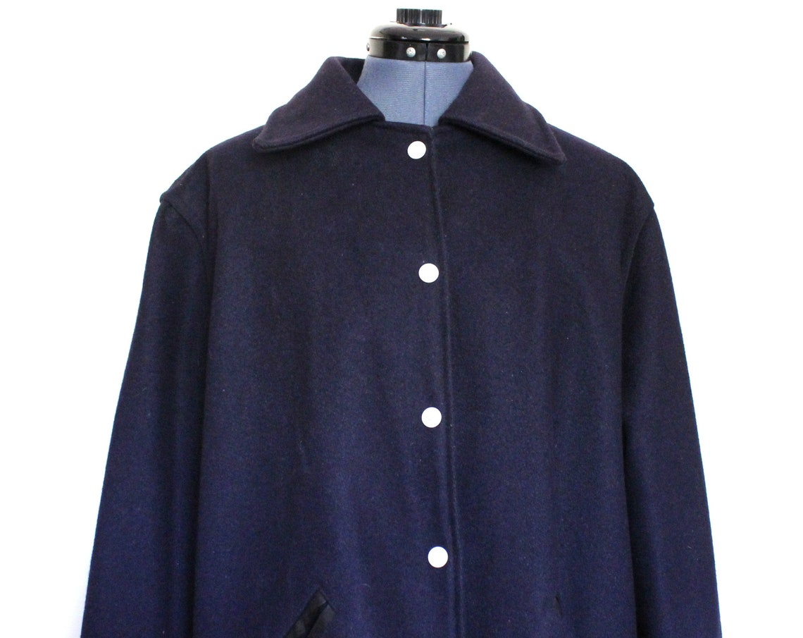Kaye Vintage 70's Wool Navy Blue Men's Letterman's Jacket Car Coat, Large