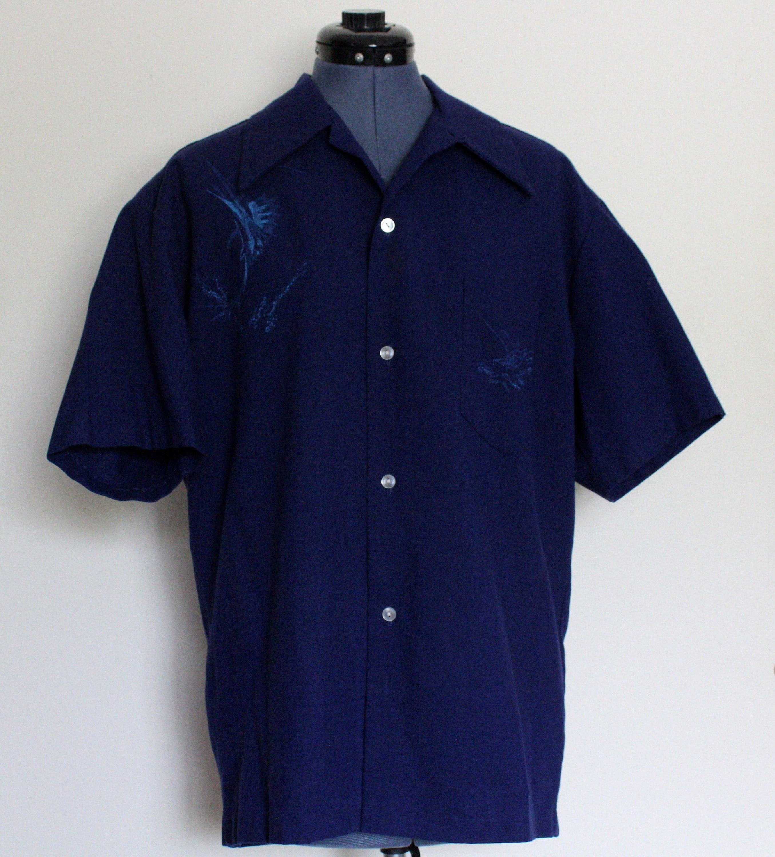 1940s Mens Ties | Wide Ties & Painted Ties Vintage 1940s-50s Lauhala Gabardine Dark Blue Loop Collar Mens Hawaiian Shirt Tiki With Hand Painted Marlin  Boat, Large $0.00 AT vintagedancer.com