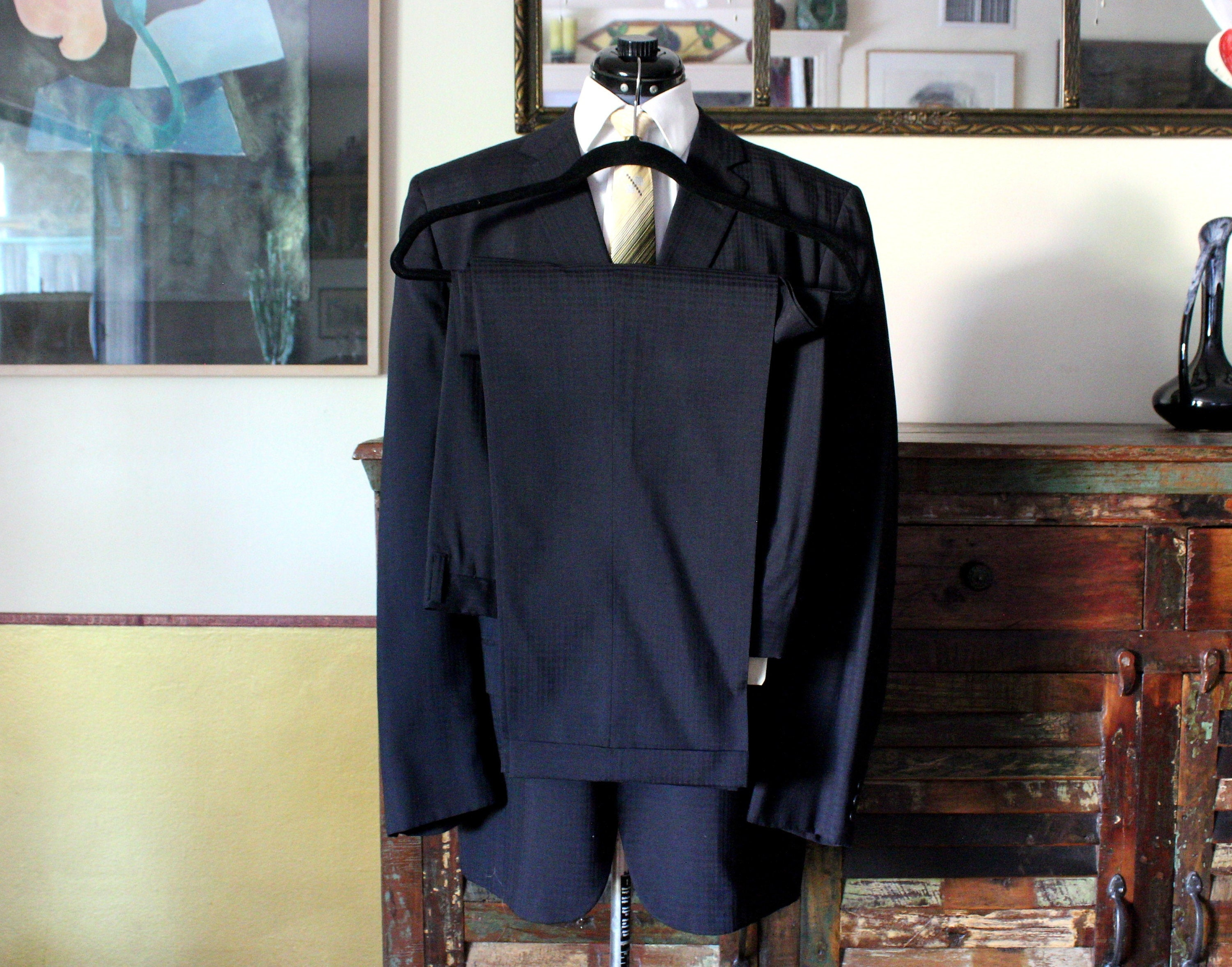 1950s Mens Suits & Sport Coats   50s Suits & Blazers Vintage 1950s-60s Black On Three Button Summer Weight Mens Suit From Carters Nashua, Nh Made in Usa, Size 44L 34 X 29 $162.00 AT vintagedancer.com
