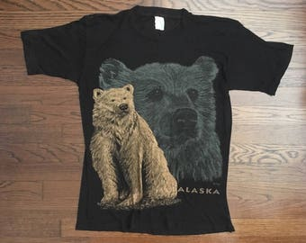 Vintage ALASKA Bear T-shirt So Thin Black Size S-M