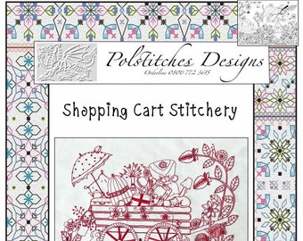 Shopping Cart Stitchery pattern with pre-printed fabric