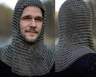 17b769868fd89 9 mm Round Riveted With Flat Washer Chain mail shirt Medieval Coif  Hood  for best gift easter