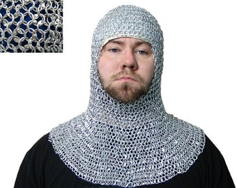 c7b761265341b Chainmail 9 mm round riveted coif   hood medieval hood