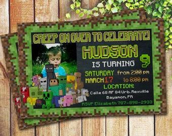 Minecraft birthday invitation etsy mine boy themed invitation personalized printable boy birthday printables mine themed invite custom card boy version filmwisefo