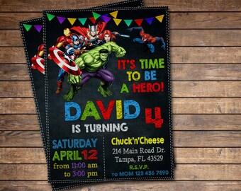 Avengers Invite, Avengers Invitation, Superhero Invitation, Superhero Invite, Superhero Avengers Invitation, Avengers Birthday Invitation