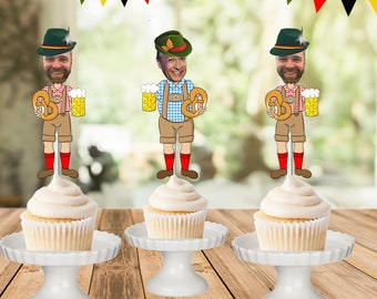 German Guy face cupcake toppers, Oktoberfest photo cupcake toppers, birthday cutout, funny hat cake toppers