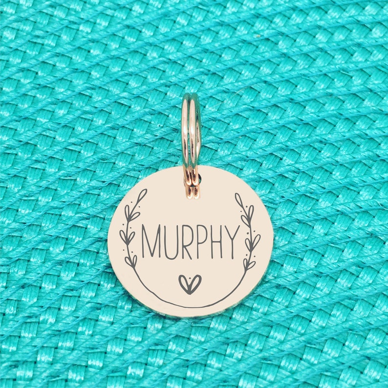 Rose Gold Personalised Dog Name Tag Engraved Dog Tag for Large Dog Floral Dog Small Pet ID Tag for Small Dog Cute Large Dog Name Tag